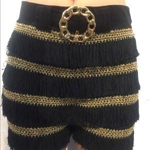 Sam fashion vintage tassel fringe shorts dance xl